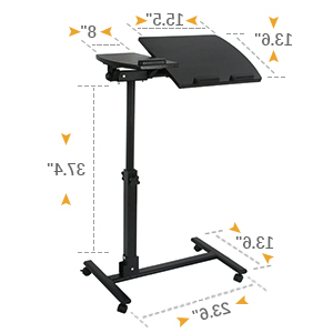 Widely Used Modern Black Tv Stands On Wheels With Metal Cart In Amazon: F2c Portable Adjustable Height 360° Swivel (View 9 of 10)