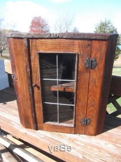 Widely Used Rustic Oak Barnwood Corner Cabinet With Leaded Glass Door With Regard To Dark Brown Tv Cabinets With 2 Sliding Doors And Drawer (View 1 of 10)