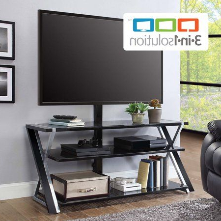 Widely Used Whalen Xavier 3 In 1 Tv Stands With 3 Display Options For Flat Screens, Black With Silver Accents Pertaining To Pin On 팝업스토어아이디어 (View 4 of 10)
