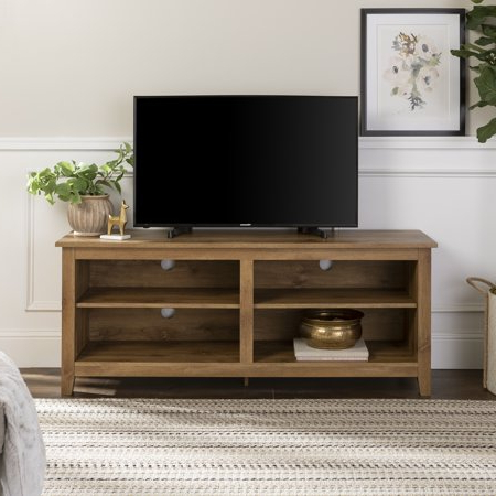 """Wood Tv Stand For Tvs Up To 60"""", Multiple Finishes Inside Most Recent Tv Stands With Cable Management (View 5 of 10)"""