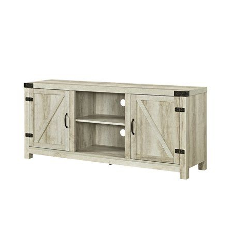 """Woven Paths Farmhouse Barn Door Tv Stands In Multiple Finishes Pertaining To Newest 58"""" Barn Door Tv Stand With Side Doors For Tvs Up To  (View 6 of 10)"""