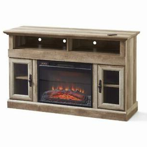 Woven Paths Farmhouse Barn Door Tv Stands In Multiple Finishes Within Trendy Farmhouse Media Console Fireplace Tv Stand For Tvs Up To (View 7 of 10)