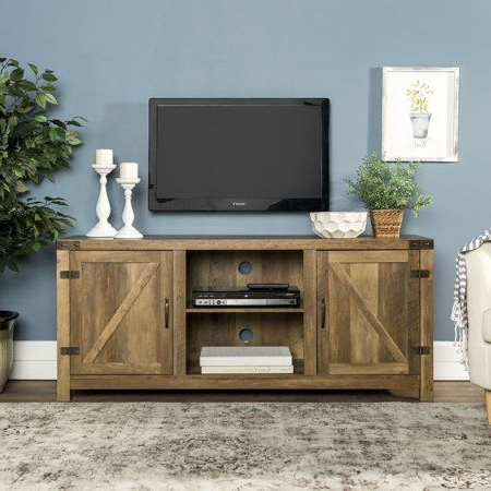 """Woven Paths Open Storage Tv Stands With Multiple Finishes Intended For Popular 58"""" Barn Door Tv Stand With Side Doors For Tvs Up To  (View 3 of 10)"""