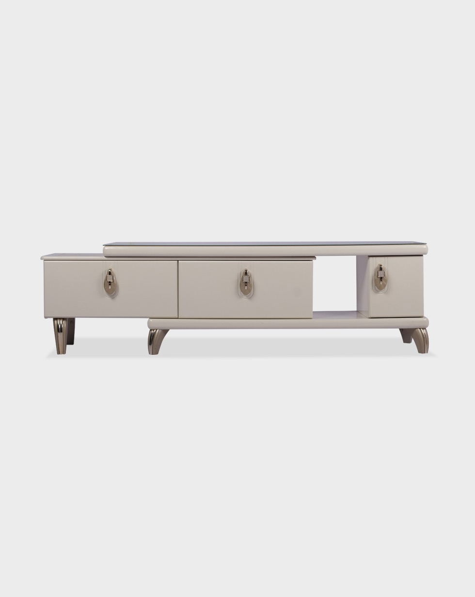 Modern Hanna Oyster Corner Tv Stands (View 4 of 7)
