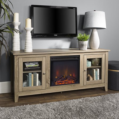Recent Tv Stands With Regard To Walker Edison Traditional Fireplace Tv Stand With Glass (View 6 of 9)