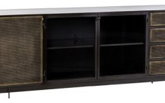 Gunmetal Perforated Brass Media Console Tables
