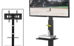 Floor Tv Stands with Swivel Mount and Tempered Glass Shelves for Storage