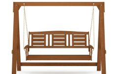 3-person Light Teak Oil Wood Outdoor Swings