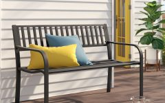 Alvah Slatted Cast Iron and Tubular Steel Garden Benches