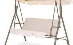 2-person Outdoor Convertible Canopy Swing Gliders with Removable Cushions Beige