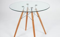 Eames Style Dining Tables with Chromed Leg and Tempered Glass Top