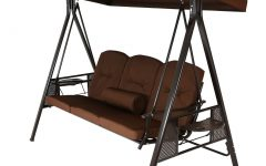 3-person Brown Steel Outdoor Swings
