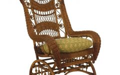 Wicker Rocking Chair With Magazine Holder