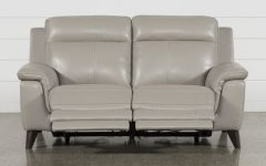 Moana Taupe Leather Power Reclining Sofa Chairs with Usb