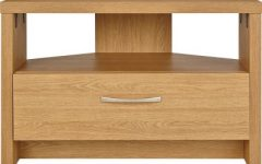 Oak Effect Corner Tv Stand