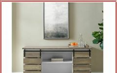 Woven Paths Farmhouse Sliding Barn Door Tv Stands with Multiple Finishes
