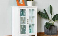Millwood Pines Floor Storage Cabinet with 2 Doors and 2 Open Shelves