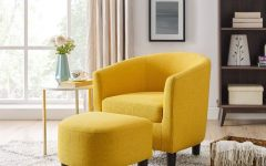 Jazouli Linen Barrel Chairs and Ottoman