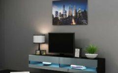 Rfiver Modern Black Floor Tv Stands