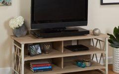57'' Tv Stands with Open Glass Shelves Gray & Black Finsh