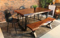 Acacia Dining Tables with Black-legs