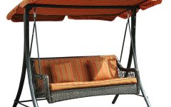 Wicker Glider Outdoor Porch Swings with Stand