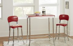 Bate Red Retro 3 Piece Dining Sets